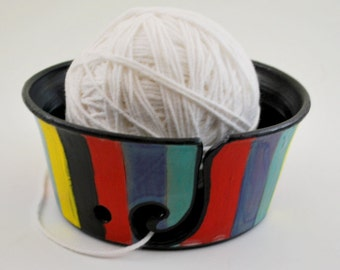 Colorful Yarn Bowl for Crochet or Knitting Gift for Her Wheel Thrown Pottery