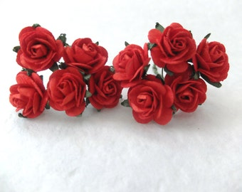 10 25mm red paper roses - paper flowers