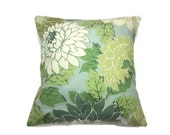 Decorative Pillow Cover Mint Green Off White Olive Green Celery Teal Floral Design Same Fabric Front/Back Toss Throw Accent 18x18 inch x