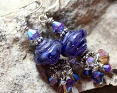 IMJ Glow-in-the-Dark Purple Lampwork, Swarovski Crystal and Sterling Silver Dangle Earrings with Bali Accents