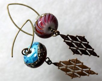 IMJ Colorful Lampwork and Copper Textured Earrings