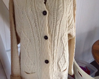 Irish Aran Cardigan large
