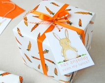 Carrots And Rabbits Wrapping Paper Set. Gift Wrap. Quirky Eco Friendly Paper. Easter Gift Wrap. Spring Wrapping Paper.