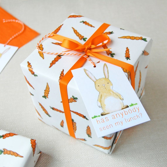 Carrots and rabbits wrapping paper set bunny gift wrap like this item negle Image collections