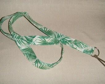 Palm leaves - handmade fabric lanyard --- last one left!