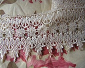 Shabby Victorian Inspired Scroll & Floral Chain Venise Lace Sewing Trim 2 yards x  4""
