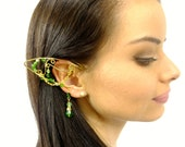 Forest Elf Ear Cuffs, Gold and Green Elf Ear Cuffs, Fairy Ear Cuffs, Jeweled Ear Cuffs, Elven Jewelry, Cosplay Jewelry, Fairy Jewelry