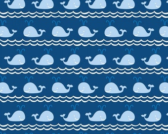 Rowing Blue Fabric - Whales - Navy Blue - Ana Davis for Blend Fabrics - True Blue Collection - Nautical - One Yard Quilting Fabric