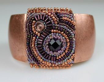 Beaded, Bead Embroidered Cuff - Copper with Amethyst