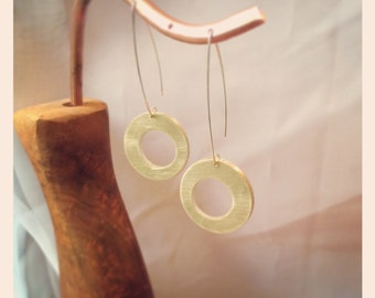 Asymmetrical circle brass earrings
