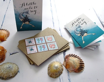 Mini Mermaid Cards with Seashore Stamps