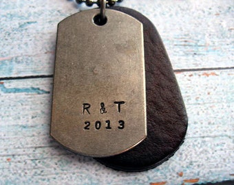 Mens Dog Tag Necklace, Hand Stamped, Personalized, Rustic Heavy Dog Tag, Leather Dog Tag, Mens Jewelry, Date Necklace, Anniversary Date