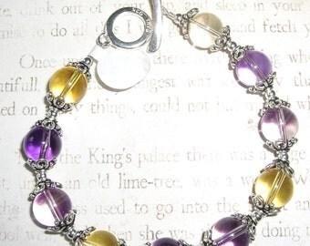 Amethyst and Citrine sterling Bracelet