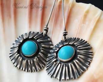 Fine silver and sleeping beauty turquoise earrings