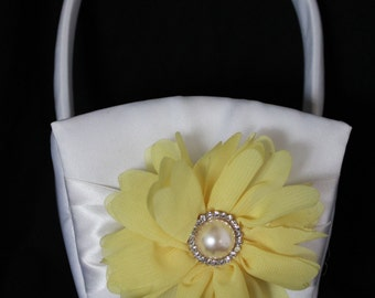 White or Cream Satin Flower Girl Basket with Yellow Chiffon Gerber Daisy and Pearl and Rhinestone Accent
