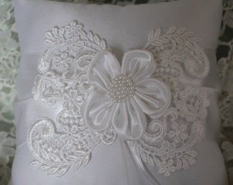 White Ring Bearer Pillow with Satin Sash Delicate Applique and White Satin Flower with Pearls
