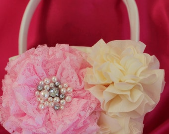 Cream or White Flower Girl Basket Lace Layered Flower in Pink and Ruffled Chiffon Flowers all with Rhinestones and Pearls