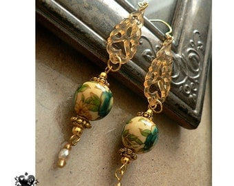 Delicate Green and Yellow Cloisonné and Gold Oriental Drop Earrings