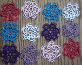 Tatting, Tatted Flowers, Scrapbooking, Set of 12 Flowers