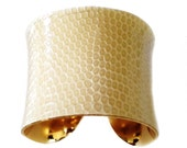 Warm Cream Lizard Leather Gold Lined Cuff - by UNEARTHED