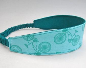 Bike Headband, Reversible Headband, Turquoise Headband, Woman's Hair, Wide Head Wrap, Teal Head Band, Yoga Headband, Stocking Stuffer