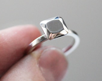 Modern alternative engagement ring, non diamond engagement ring, eco friendly, Ascher cut diamond like, recycled sterling silver, size 6