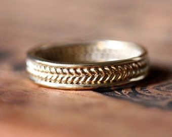 Mens braided wedding band - wide gold wedding ring - wheat wedding ring - recycled gold - 14k wedding band set - unisex rings- made to order