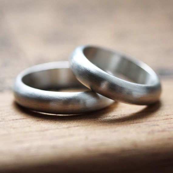 Silver Wedding Band Set His And His Hers And Hers Silver