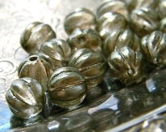 Linen Shimmer (25) -Czech Glass Melon Rounds 8mm