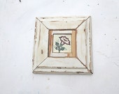 Framed Mexican Tile, Rustic Wall Decor, Reclaimed Wood Wall Art, Rustic Wood Art, Reclaimed Wood Decor, Framed Flower Tile, Wooden Wall Art