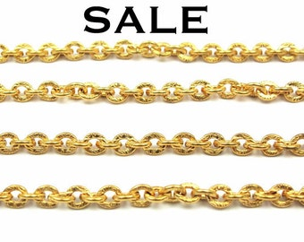 Vintage Gold Plated on Brass Textured Cable Chain Segments (6.5 inces) (4X) (C559) SALE - 25% Off