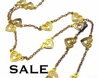 Vintage Brass Heart Chain Necklaces (2X) (C566) SALE - 25% off