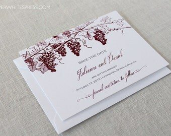 Grapevine Save the Dates, Vineyard Wedding Save the Dates, Winery Wedding Save the Dates, Wine Country Wedding, Grapes Save the Dates