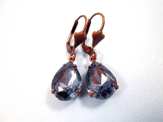 Rhinestone Earrings, Montana Blue Glass Rhinestones and Brass Dangle Earrings, FREE Shipping U.S.