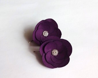 Purple Plum Fabric Flowers Hair Pins or Shoe Clips