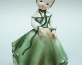 Napcoware Girl with Green Dress & Bonnet