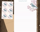 Personalized Bird Stationery - Mini Letter Writing Set - Tufted Titmouse - bird letterhead blue purple gift writer 52 Birds