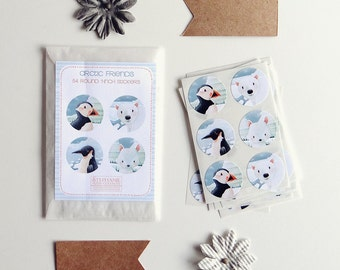 ON SALE-Arctic Animals & Birds - Sticker Set of 54 Round 1-inch stickers - polar bear, arctic fox, penguin, puffin, winter, whimsical, cute