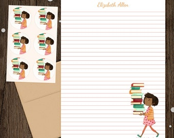 Personalized Stationery - Mini Letter Writing Set - Library Girl 4 - Cute Library Books Reading Librarian Teacher gift African American