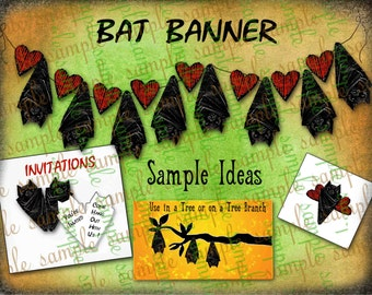 Art Tea Life Hanging BAT BANNER HALLOWEEN Collage Sheet bunting Digital File Scrapbook Party Decoration Office holiday streamer garland