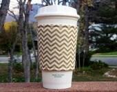 Coffee cozies / fabric coffee cozy / coffee sleeve / coffee cup holder -- Metallic gold and ivory chevron