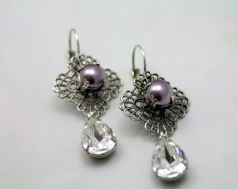 Twilight Lovers Swarovski Elements Tennis Earrings Rhinestone Pearl Mauve Crystal Original Bridal Jewlery