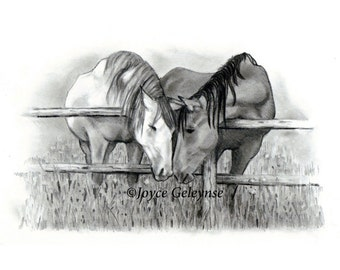 Horse Drawing Hand Drawn Horses, Horse Lovers Original Pencil Drawing Instant Download Print Your Own, Equine Art, Horse Couple WHOA Team