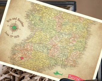 Vintage Map Postcard Save the Date (Ireland) - Design Fee