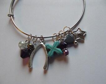 Bangle Charm Stackable Bracelet Purple Turquoise Silver Wishbone Heart Cross Star