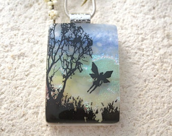 Fairy Necklace, Forest Scene, Fairy Pendant, Fused Glass Jewelry, Dichroic Glass Jewelry,Necklace Included, Mythical Jewelry, 120914p100