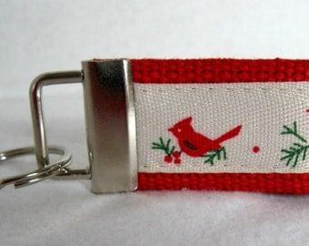 Cardinal Mini Key Fob -  Winter Birds Key Chain - Winter Cardinal Keychain - Small Key Ring - Cardinals Luggage Identifier