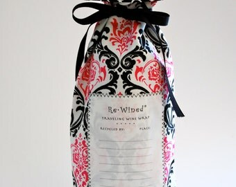 Re-Wined Traveling Wine Wrap, Wine Bag, Fabric Tote - Style F