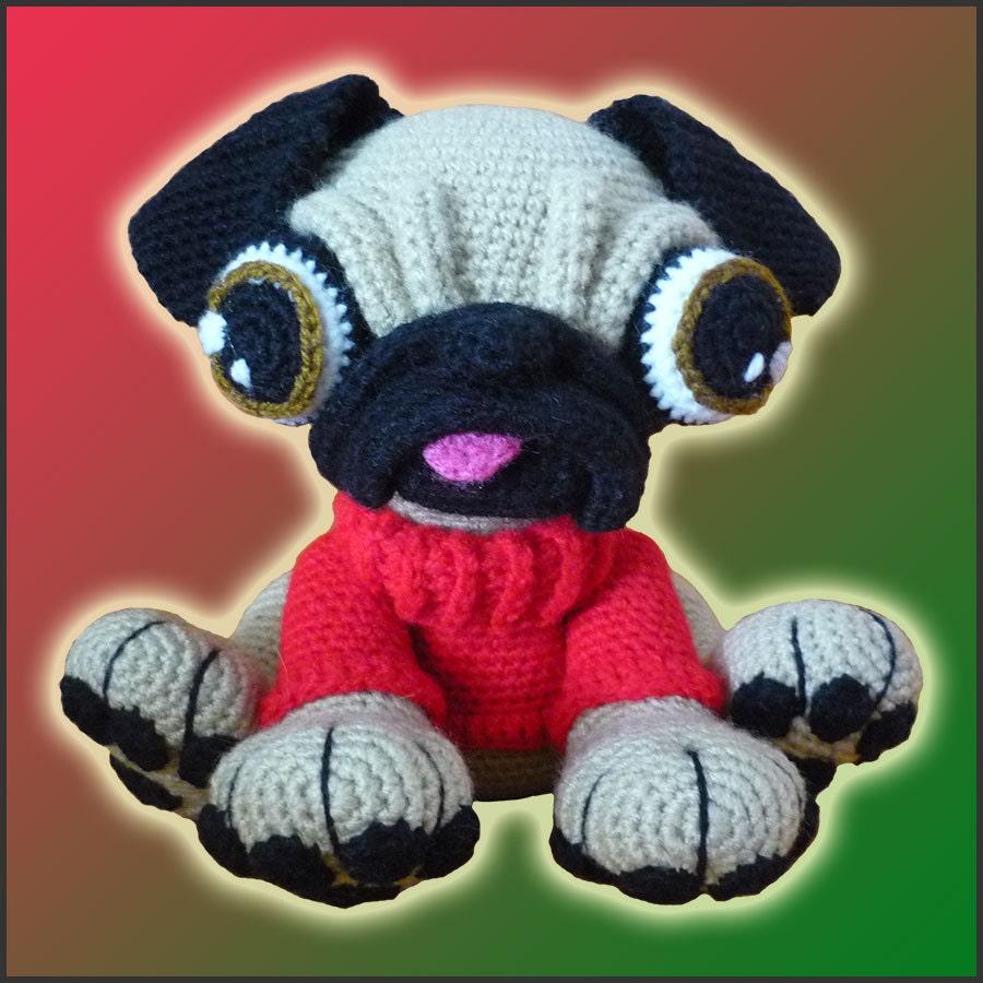 Free Crochet Pug Rug Pattern : Amigurumi Pattern Crochet Barry Pug Dog DIY Instant Digital