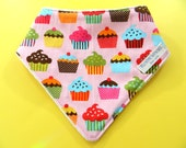 Dribble Bib, Bandana Bib, Baby Gift, Gift for Baby Girl, Baby Gift Under 10, Pink Cupcake, Baby Girl Bandana Bib, Baby Girl Baby Gift
